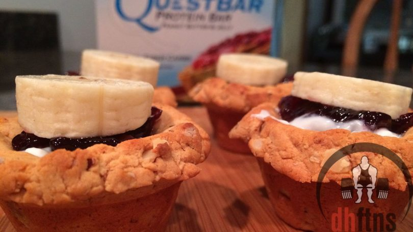 Low Fat High Fibre Cake Recipes: Banana PB&J QUEST Cakes (High Protein/Fiber