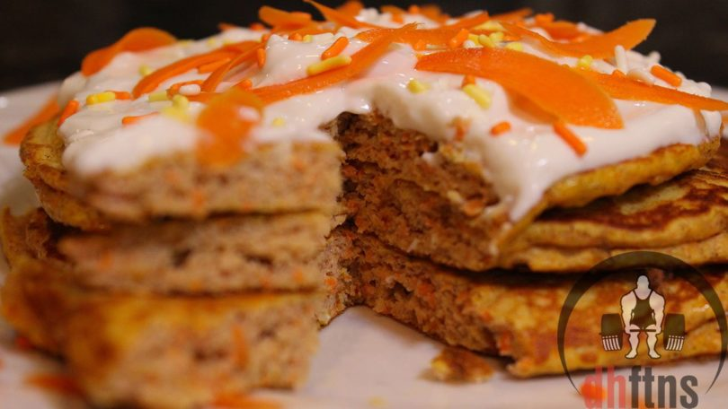 Carrot Cake PROTEIN Pancakes w/ Frosting Recipe